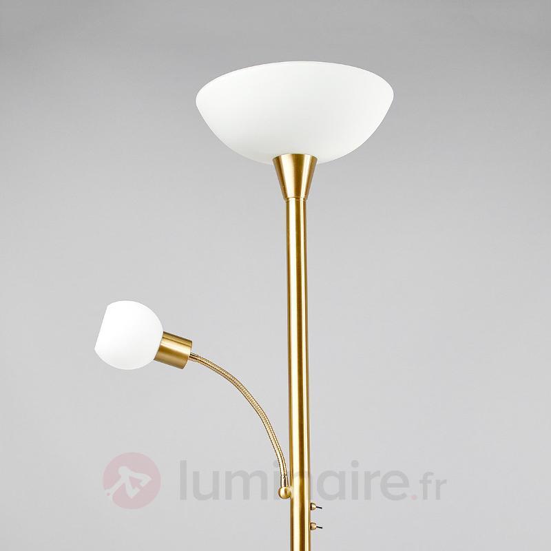 Lampadaire LED en laiton avec liseuse Elaina