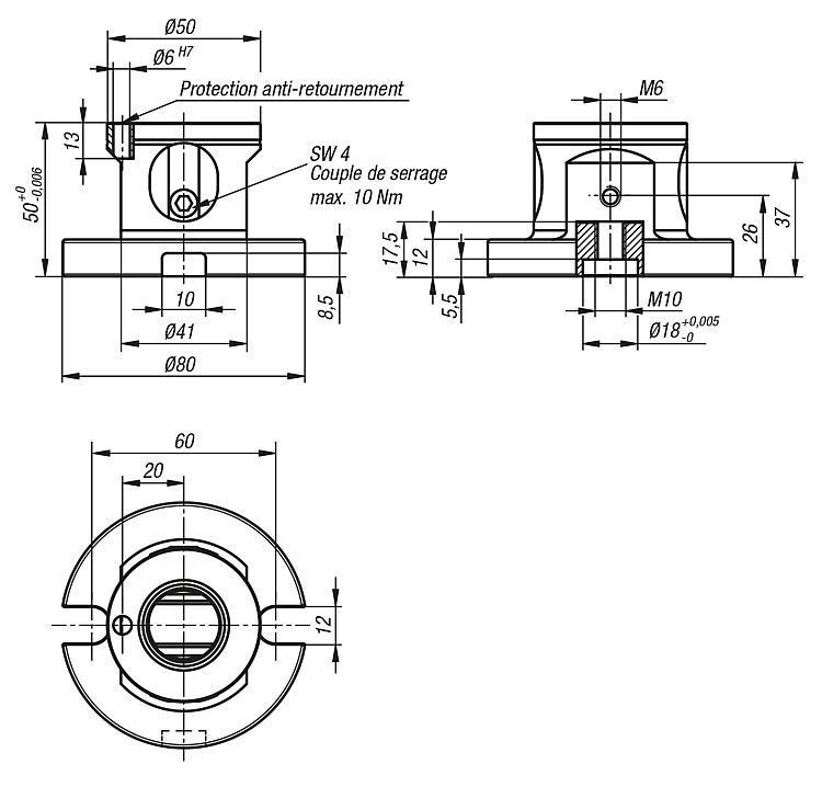 Module de base 5 axes UNI lock, pas de 50 mm - UNI lock pas de 50 mm