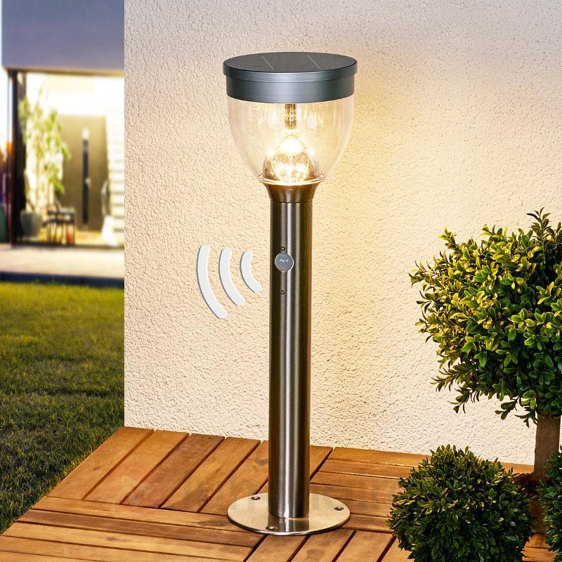 Eda - Lampe solaire à socle, LED, en inox - Lampes solaires avec détecteur