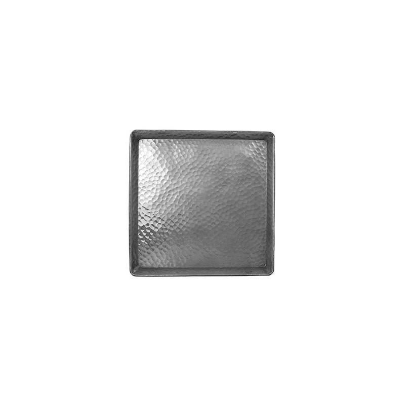Plateau Aluminium Carré 25x25 Cm - FEUILLE MARTELÉE