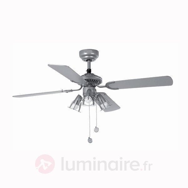 Ventilateur de plafond JACA gris, avec 3 spots - Ventilateurs de plafond lumineux