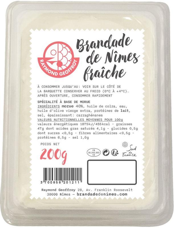 Brandade de Nîmes fraîche 40% de morue barquette 200g - Produits de la mer