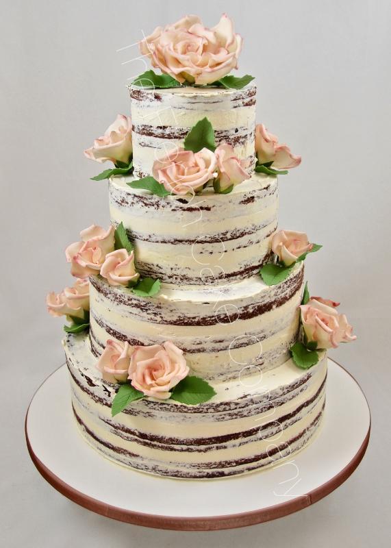Gâteaux et Pièces Montées sur-mesure - Naked Cake avec roses