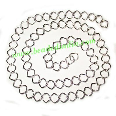 Silver Plated Metal Chain, size: 1x9.5mm, approx 24.4 meters - Silver Plated Metal Chain, size: 1x9.5mm, approx 24.4 meters in a Kg.
