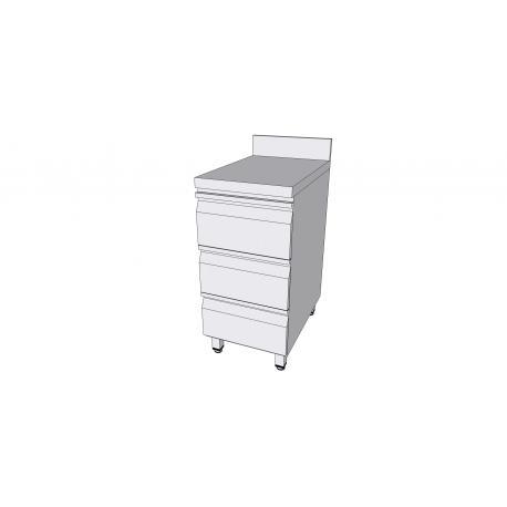 Table adossée en inox avec 3 tiroirs profondeur 70cm - Tables / Plans de travail avec tiroirs