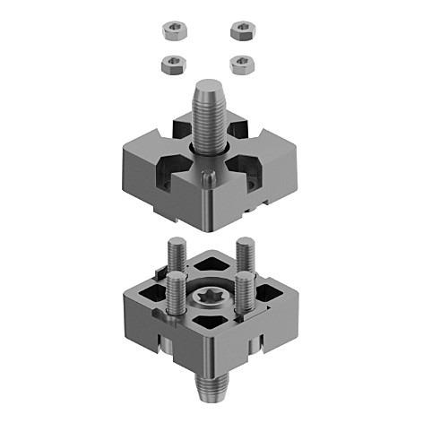 Plate Connector for aluminium profile assembly - To tee and Lenght-connect two aluminum profiles