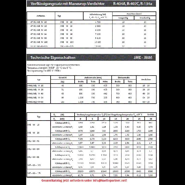 Verflüssigungssatz JME-M-64 JDK, Maneurop Kompressor... - Kälte Verflüssigungssätze
