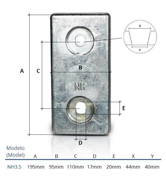 Ânodo de zinco para protecção catódica - Ânodos de aparafusar NH 3.5