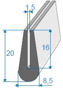 Curved U-shape rubber profile
