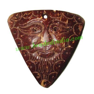 Handmade coconut shell wood Mahakaal pendants, size : 48x51x - Handmade coconut shell wood Mahakaal pendants, size : 48x51x3mm