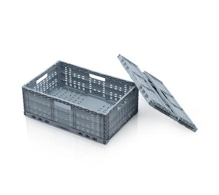 Folding container perforated - 60 x 40 x 17 (22) cm grey (green)