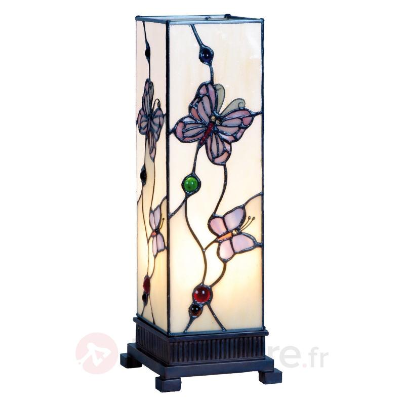 Petit photophore Rosy Butterfly 35 cm - Lampes à poser style Tiffany
