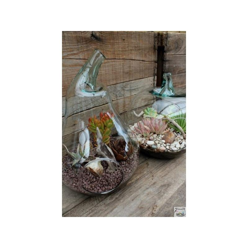 Poire Terrarium en verre 100% recyclé,48 cm de haut - Cloches en verre