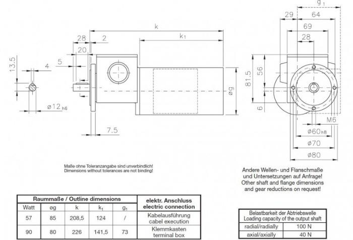GP-SN4F - Zweistufiger Schneckengetriebemotor mit Vollwelle