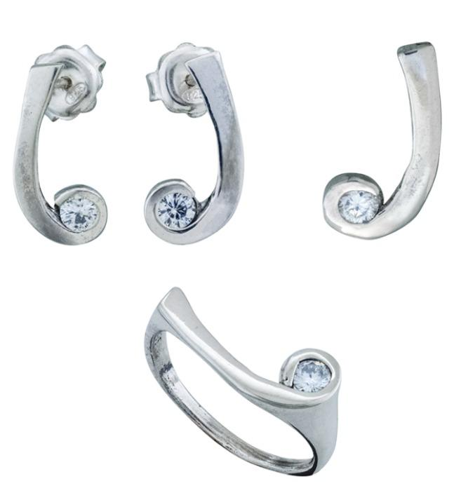 Sterling Silver set with Clear CZ Israel handmade wholesale - Handmade Sterling Silver set for Wholesale and Retail Clients