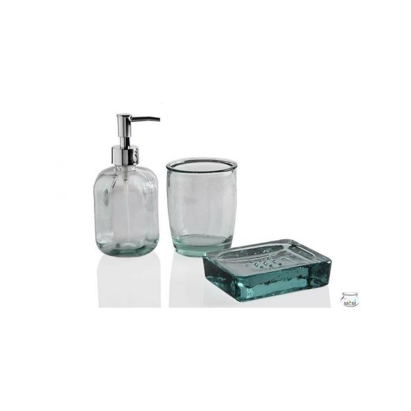 Set complet salle de bain / lavabo, en verre recyclé, verre à brosse à dent, por - Vases, Lanternes, décoration