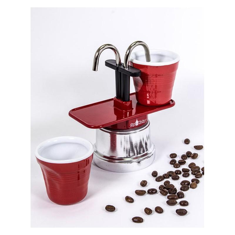 """Machine à café italienne TOP MOKA, duo """"Tête à tête"""", couleur Rouge - MACHINES A CAFÉ TOP MOKA"""