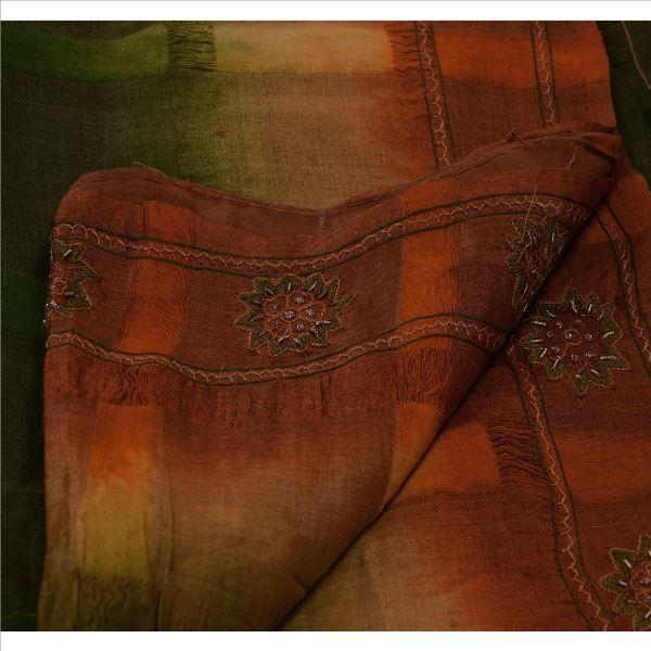 Hand Embroidered Fabric Sari - Antique Vintage Indian Saree 100% Pure Silk Green Hand Embroidered Fabric Sari