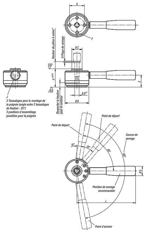 Vérin à tirer avec levier modèle lourd - Crampons, mors de serrage, vis et écrous de serrage