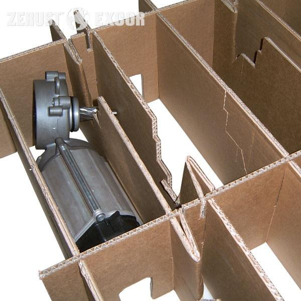 VCI-Cartón ondulado ABRIGO - Cartón para compartimentos o como capa intermedia con protección anticorrosiva