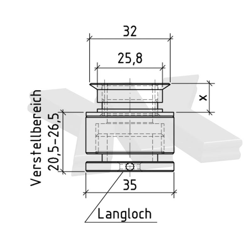 Countersunk point fitting, adjustable, Ø 35/32 mm - Point fittings rigid
