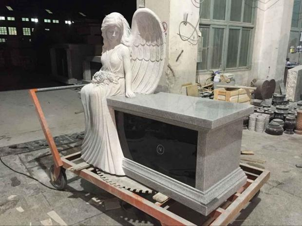 Special Grey Granite Angel Bench Headstone Columbarium  - Angel Bench Headstone Columbarium with made in G633 and Shanxi Black granite