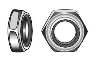 Sechskantmuttern, nichtmetallisches Klemmteil, niedrige Form - Material A2 | A4