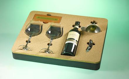 Packaging products - CNC-milled PE foam inserts with cork overlay
