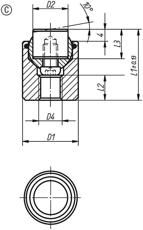 Support à bille oscillante avec joint torique intégré... - Éléments d'appui et de support