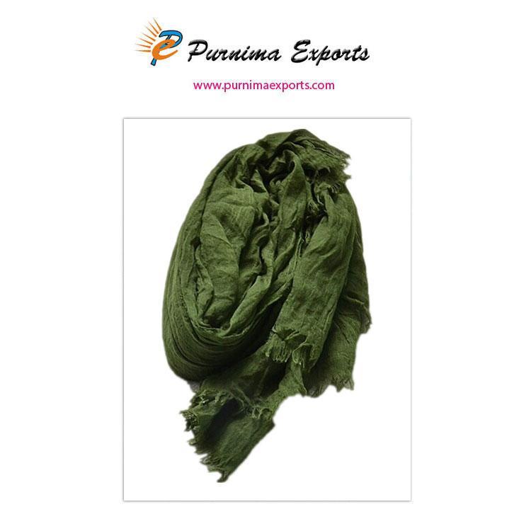 foulard en lin vert foncé