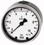 Glycerine pressure gauge, rear centric, G 1/4, -1/+15... - Glycerine-filled pressure gauge, connection on rear, 63 = centrical, 100 =...