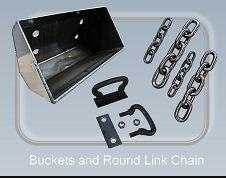 Buckets and round link chain - Conveyor chains and components