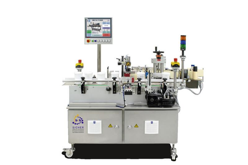 Fully automatic labelling of cylindrical products VRM - Fully automatic wrap-around labelling of cylindrical and quadratic products VRM