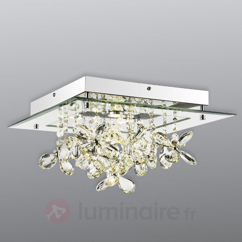Plafonnier LED miroitant Gese avec cristaux - Plafonniers en cristal