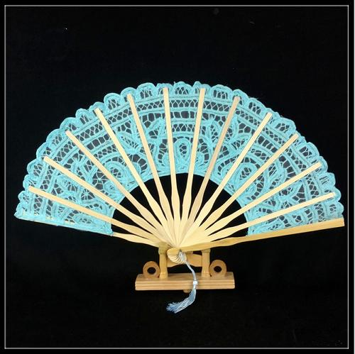 Hand embroidery bamboo-based craft fan with lace macrame for western-style court