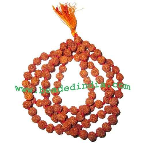 Rudraksha Beads String (mala) 5 Mukhi (five face), size: 9mm - dyed red-brown knotted mala