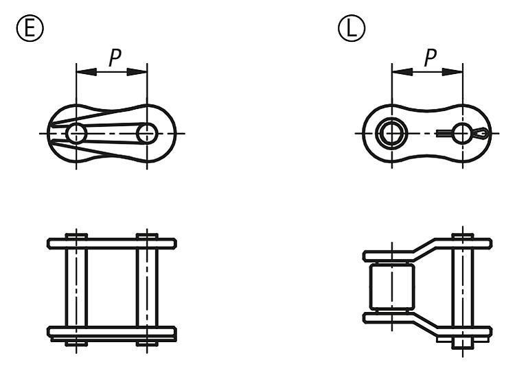 Maillons de liaison en acier inoxydable DIN ISO 606 - Chaînes et pignons
