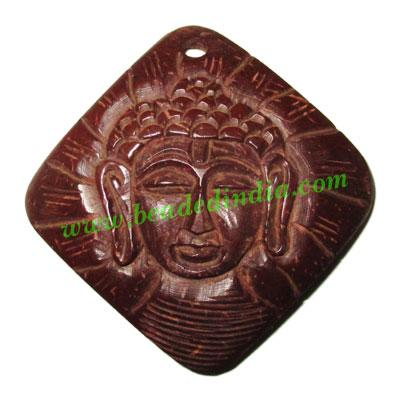 Handmade coconut shell wood Buddha pendants, size : 51x3mm - Handmade coconut shell wood Buddha pendants, size : 51x3mm