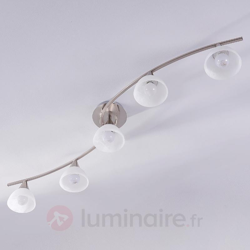 Plafonnier LED à 5 lampes Della, nickel mat - Plafonniers LED