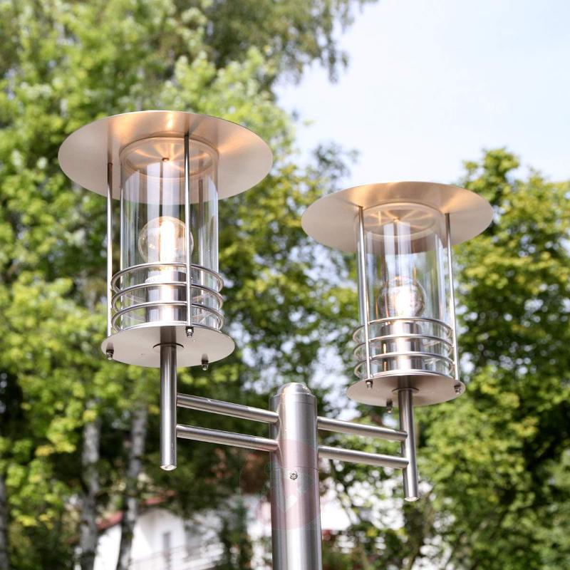 Two-bulb post light Miko, made of stainless steel - Pole Lights