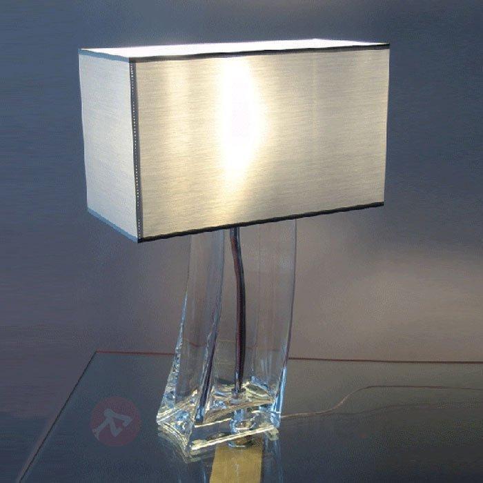 Fascinante lampe à poser SABRINA pied transparent - Lampes à poser en tissu