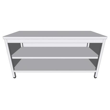 Table-armoire centrale ouverte en inox profondeur 60cm - Tables-armoires inox ouvertes