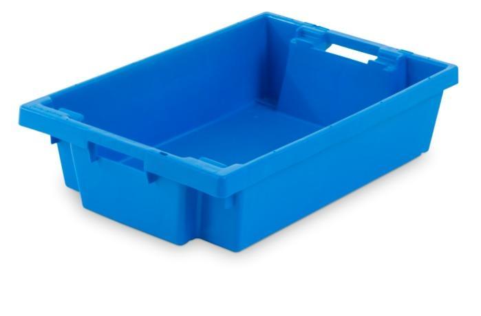 Cajas de plástico apilables y encajables - con abertura en las asas, 25L (cerrada y/o rejada)