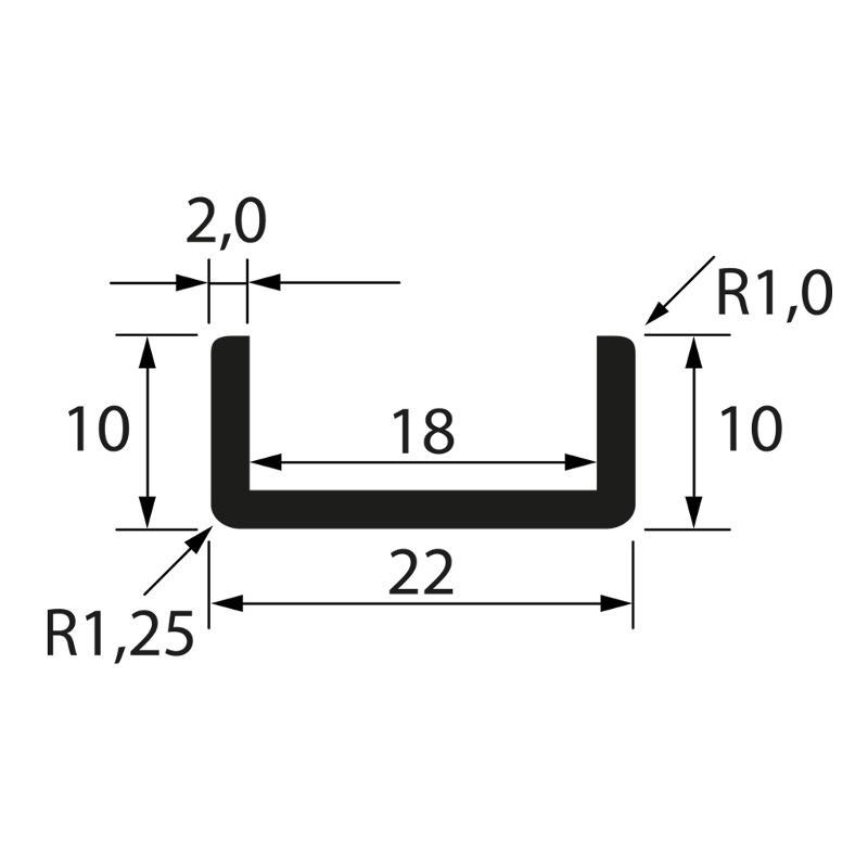 Glass edge protection profile 10x22x10x2mm, anodized - U-profiles