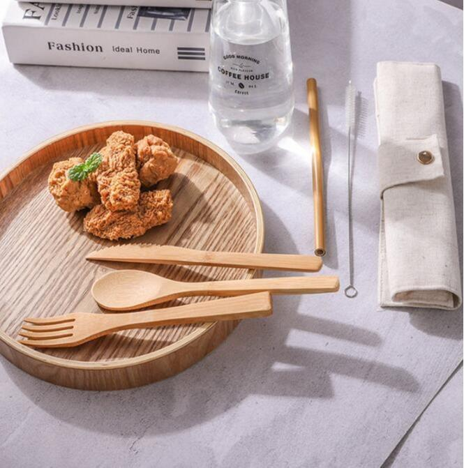 Disposable wedding cutlery - wood spoon, bamboo knife, disposable wood fork