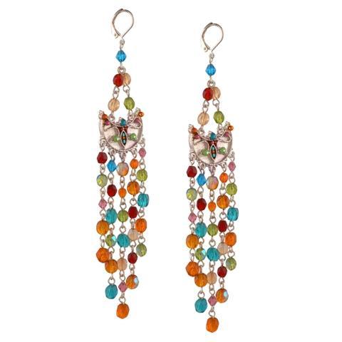 Silver Tone Hook Earrings with Tassels  - Ornamenta Fashion Silver Tone Hook Earrings with Tassels Multi color Beads