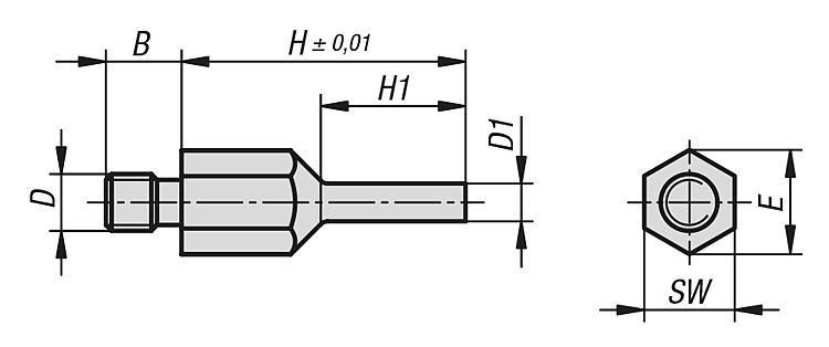 Tête d'appui à surface réduite filetée - Appuis et pieds de position