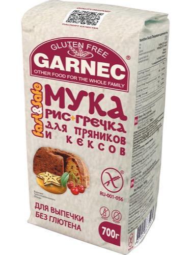 Jauhot «Riisi + Tattari» - Jauhot «Riisi + Tattari» piparkakkuille ja muffineille, gluteeniton Garnec, 700г