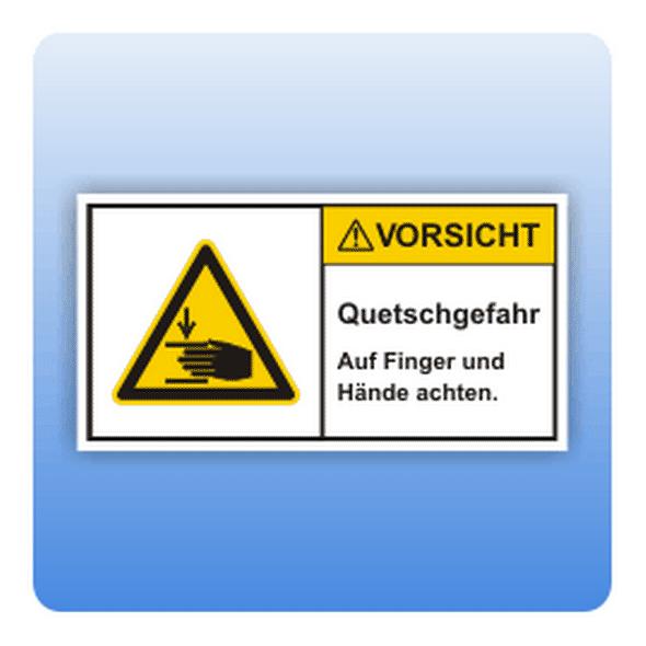 Sicherheitszeichen Quetschgefahr (ISO 3864-2) - Größe: 37x70 mm (VE = 5 Stück) 74x140 mm (VE = 1 Stück) 37x7