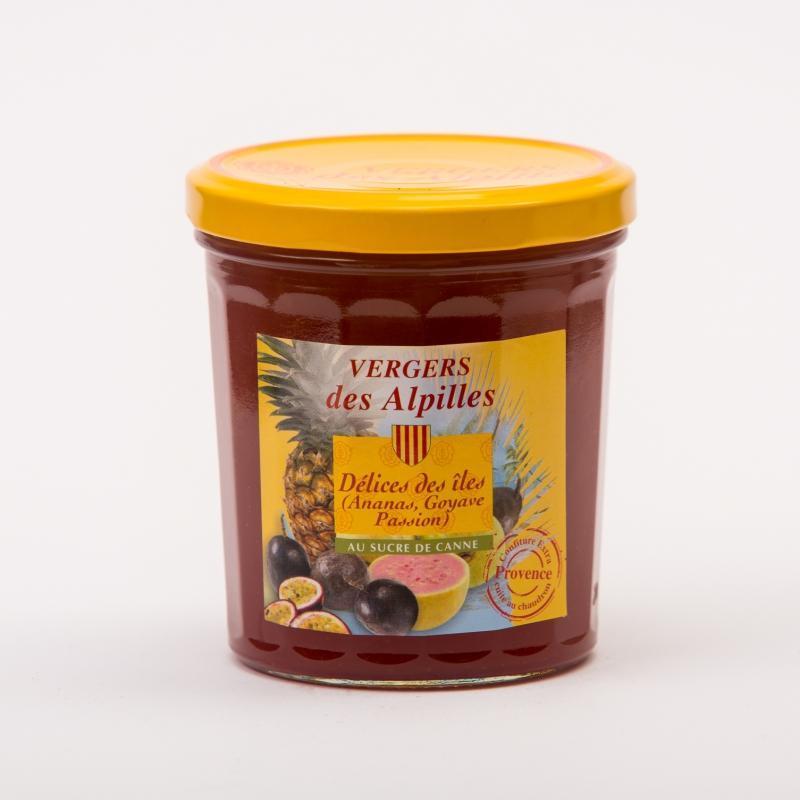 Vergers des Alpilles - Délices des Îles (ananas/goyave/fruits de la passion) - Confitures au sucre de canne